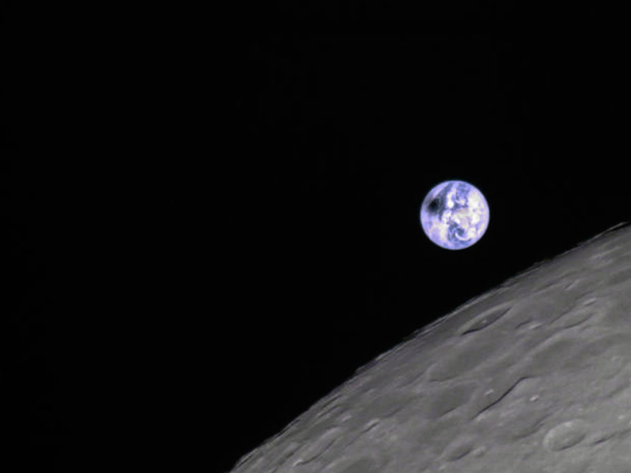 La fotografía muestra un eclipse solar desde la perspectiva lunar tomada por el satélite chino Longjiang 2. Foto: Harbin Institute of Techology/CAMRAS/DK5LA/dpa
